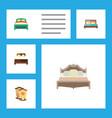 flat bedroom set of bedroom crib hostel and vector image