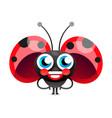 flirtatious flying little ladybug on white vector image