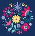 floral folk art design scandinavian art vector image vector image