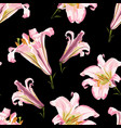 floral seamless pattern with pink lilies flowers vector image vector image