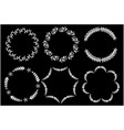 flower laurel circle frame on black background vector image vector image