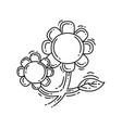 gardening sunflower hand drawn icon outline black vector image