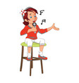 girl seated singing vector image