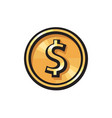 gold coin with dollar sign icon usd currency vector image