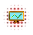 Graph on the computer monitor icon comics style vector image vector image