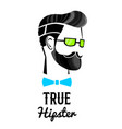 hand drawn hipster head concept vector image vector image