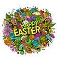 happy easter hand drawn cartoon doodles vector image vector image