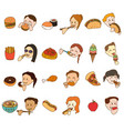 icon set of people eating and food vector image