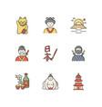 japan rgb color icons set maneki neko geisha vector image