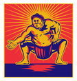 japanese sumo wrestler vector image vector image