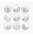 Linear city icons set vector image vector image