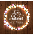 Merry Christmas Happy New Year Spanish Card vector image