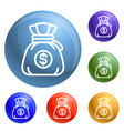 money bag icons set vector image vector image