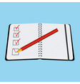 notebook red pencil with tick vector image vector image