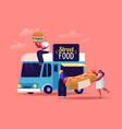 people buy street food takeaway junk meals from vector image