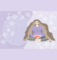 pregnant woman sitting and holding a heart vector image