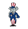 Republican Elephant Mascot Thumbs Up USA Flag vector image vector image
