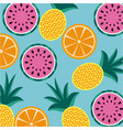 seamless pattern fruits pineapple orange and vector image vector image