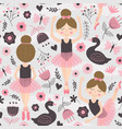 seamless pattern with cute ballerina girl vector image