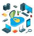 secure cloud storage isometric data storage vector image vector image