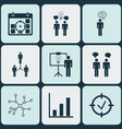 set 9 executive icons includes team meeting vector image vector image