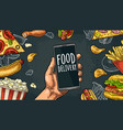 set fast food coffee hamburger pizza hotdog vector image