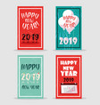 set of happy new year 2019 lettering vector image vector image