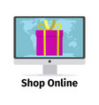 shop online concept with pink present vector image vector image