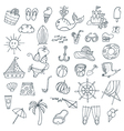 summer icons set outlined vector image