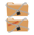 the metal chain and padlock folder file vector image