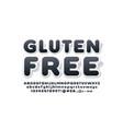 trendy emblem gluten free with sticker alphabet vector image