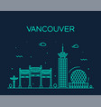 vancouver city skyline canada linear style vector image vector image