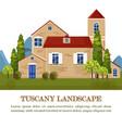 vintage house tuscany style landscape card vector image