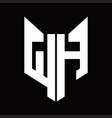 wh logo monogram with fox head shape design vector image vector image