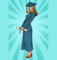 woman college or university graduate posing vector image