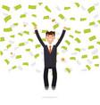 businessman jumping in money rain finance vector image
