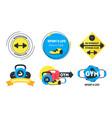 cartoon fitness badges or labels set vector image