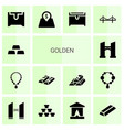 14 golden icons vector image vector image
