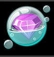 a beautiful gem in a cartoon soap bubble vector image