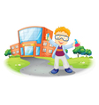 A scientist in front of a school building vector | Price: 1 Credit (USD $1)
