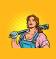 a strong woman mechanic plumber worker with vector image vector image