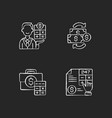 accounting chalk white icons set on black vector image