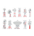 antenna tower aerial wireless cellular vector image