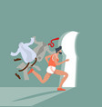 businessmen hurry running key hole light vector image vector image