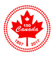 canada 150 in circle maple leaf frame vector image