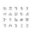 celebrating people line icons signs set vector image vector image