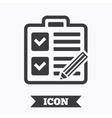 Checklist sign icon Control list symbol vector image vector image