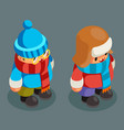 children winter clothes isometric boy christmas vector image