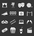 cinema icons set grey vector image