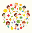 collection of kids and fruits vector image vector image
